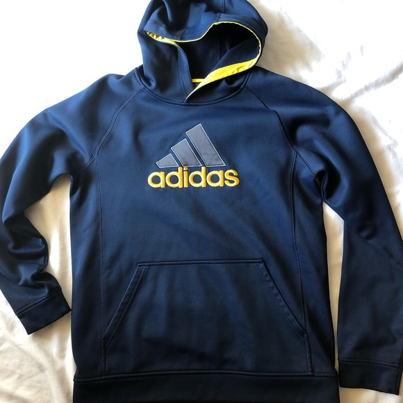adidas Other - Adidas Hoodie Youth Navy Yellow Pull Over Light